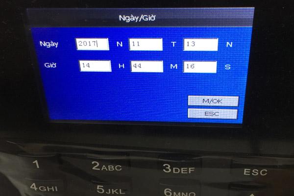 Hướng dẫn cài đặt ngày giờ trên máy chấm công vân tay k70