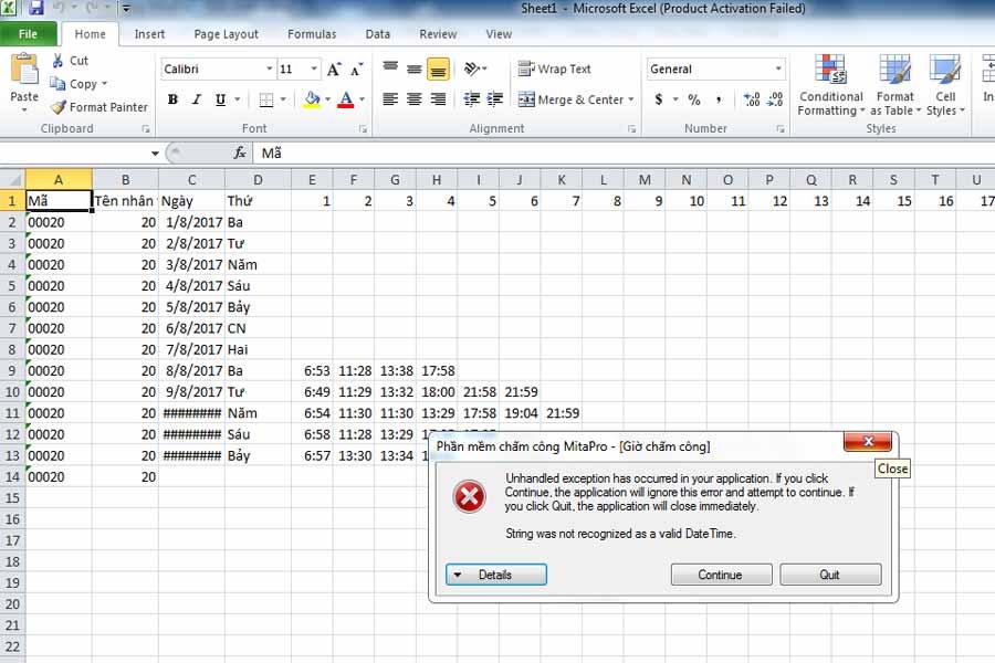 sửa lỗi không xuất Excel được trên phần mềm mitapro- Lỗi định dạng ngày giờ